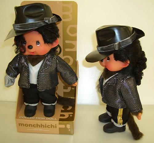"Sekiguchi Authentic Limited Edition & Collection Doll Monchhichi MICHAEL JACKSON 8"" (20 cm) . - 1"