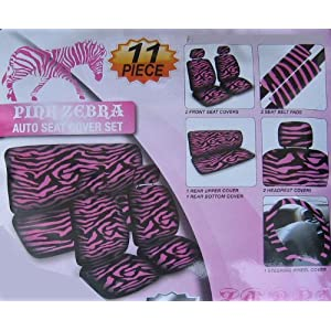 Safari Animal Print Auto Interior Gift Set - 2 Pink Zebra Low Back Front Bucket Seat Covers with Separate Headrest Cover, 1 Pink Zebra Steering Wheel Cover, 2 Pink Zebra Shoulder Harness Pressure Relief Cover, and 1 Bench Cover