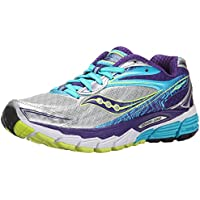 Saucony Women's Ride 8 Running Shoe (Silver/Purple/Blue)