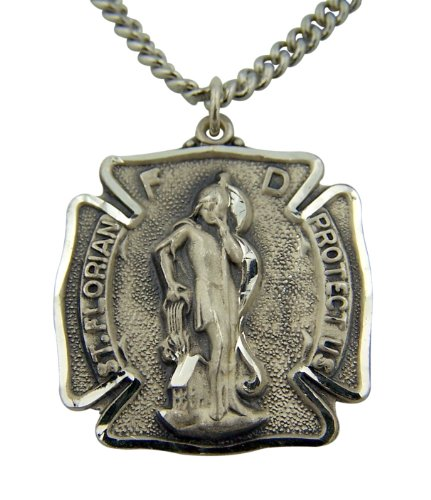 Sterling Silver 1-Inch Saint St Florian Fire Department Badge Medal