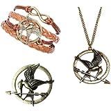 Fashion-Parure de 3 Bijoux Bracelet Broche et Collier en Bronze Antique en Forme de Motif de Hunger Games Ridicule Bird Style Tendance Chic