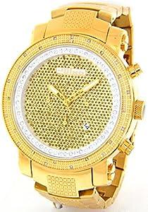JOJINO Real Diamond Watch Mens Chronograph Gold Tone Case Metal Band FJ1104