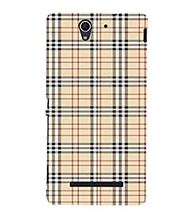 Checks Pattern Cute Fashion 3D Hard Polycarbonate Designer Back Case Cover for Sony Xperia C3 Dual :: Sony Xperia C3 Dual D2502