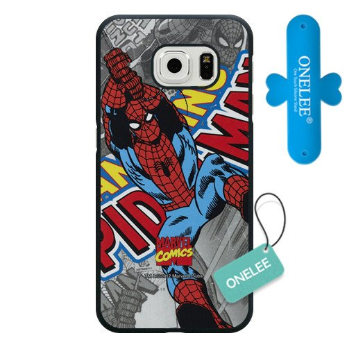 Samsung Galaxy S6 edge Case, Onelee Customized Marvel Comics Spider Man Black Hard Plastic Case Only Fit For Samsung Galaxy S6 edge[Free One Touch Silicone Stand]