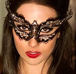 Vampire Diaries Laser Cut Venetian Mardi Gras Masquerade Mask with Luxurious Rhinestones