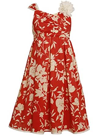 Size-10, Coral, BNJ-7644R, Coral and Ivory Crossover Side Pleat Floral Print Dress,Bonnie Jean Tween Girls Party Dress Outfit