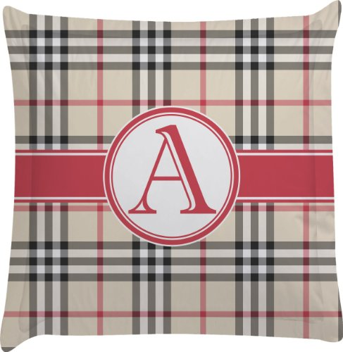 Red & Tan Plaid Personalized Euro Sham Pillow Case front-981768