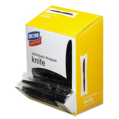 """Dixie KM5W540 Wrapped Medium Weight Polystyrene Knives, 7"""" Length, Black (Pack of 90)"""