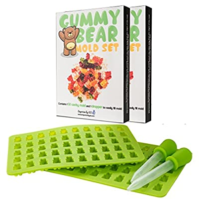 New Gummy Bear Mold Set - 50 Cavity Mold and Dropper with Bonus Quick Start Recipes (Classic, Sour, Vegan) Healthy Alternative to Store Brought Gummies. Single or Double Mold Sets!