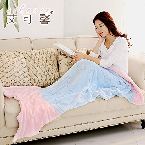 qinli Casual Flanell Decke Idee beliebtes Fisch Meerjungfrauen Nap, Couch Decke Decke, Pink, 75cmx180cm