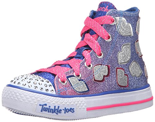 Skechers Kids Girls' Shuffles-Lil' Smooches Sneaker, Blue/Hot Pink, 1 M US Little Kid (Lil Kids Shoes compare prices)