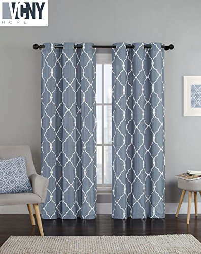 2 Pack Devlin Quatrefoil Linen Weave Textured Curtains By VCNY
