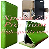 JP498【グリーン】【Xperia Z5 Premium レザーケース】【選べる12色】 【大人気】【マグネット式】【本革】≪透明収納ポケットがありますのでプリクラ等を入れても使えますよ≫ エクスペリア Xperia Z5 Premium SO-03H エクスペリア エックス プレミアム 編み込み 網目 メッシュ スマホ 携帯 ケース カバー 電話 高品質 人気 長持ち シンプル 手帳型 レザー ドコモ ソフトバンク docomo au softbank 本体 保護 落下 衝撃 吸収 キズ 防塵 防止