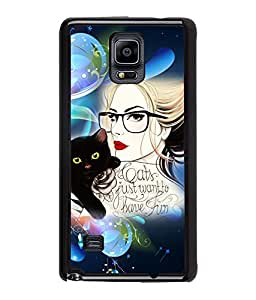 Fuson Kitty Girl Back Case Cover for SAMSUNG GALAXY NOTE 4 - D3937
