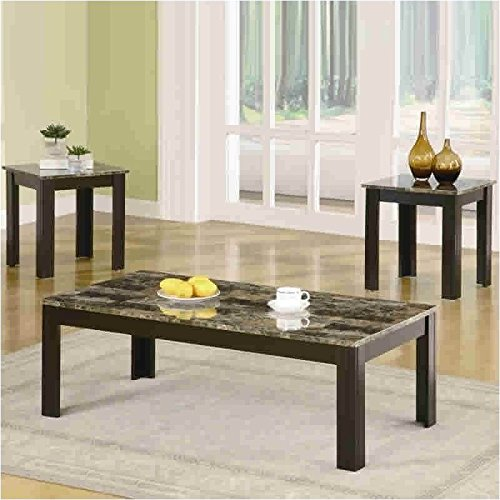 3-Pc Rectangular Occasional Table Set in Black Finish