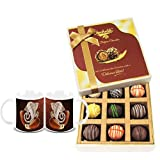 Chocholik Belgium Chocolates - 9pc Heavenly Treat Of Truffles With Diwali Special Coffee Mugs - Diwali Gifts