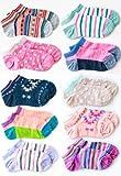 女の子 靴下 カラフル 杢調 ポップデザイン のびのびショート丈ソックス 10足セット 19~24cm スニーカーソックス 子供 キッズ ガール