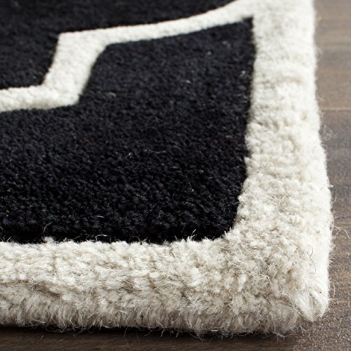 Safavieh Chatham Collection CHT733K Handmade Black and Ivory Wool Area Rug, 3 feet by 5 feet (3' x 5')