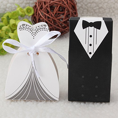 IGBBLOVE 100Pcs Wedding Favor Candy Box Bride & Groom Dress Tuxedo Party Favor- pack of 100