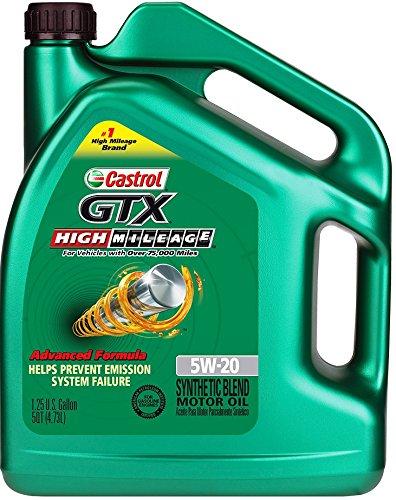 Castrol 03100 gtx high mileage 5w 20 motor oil 5 quart for Castrol gtx conventional motor oil