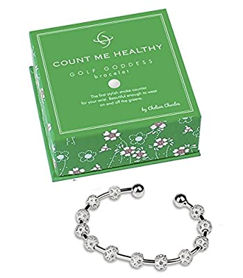Golf Goddess Crystal Score Counter Bracelet - Sterling Silver Plated