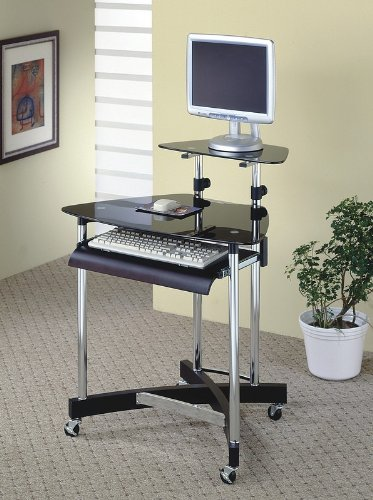 Buy Low Price Comfortable Black and Chrome Finish Home Office Computer Desk (B0029RS4PA)