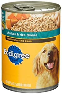 Pedigree Traditional Ground Dinner Chicken & Rice Dinner, Food for Dogs, 13.2-Ounce Cans (Pack of 24)