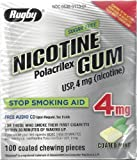 Rugby Sugar Free Nicotine Polacrilex Gum, 100 Count - 4 MG - COATED MINT Flavor - Stop Smoking Aid