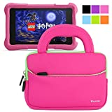 Evecase Fire HD Kids Edition Tablet Sleeve, Ultra Portable Handle Carrying Portfolio Neoprene Sleeve Case Bag for Amazon Fire HD 6 / 7 Kids Edition, 6'' / 7 inch HD Display - Hot Pink