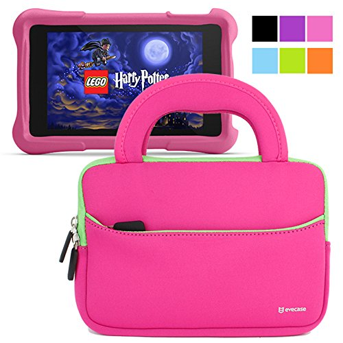 Lowest Prices! Evecase Fire HD Kids Edition Tablet Sleeve, Ultra Portable Handle Carrying Portfolio ...