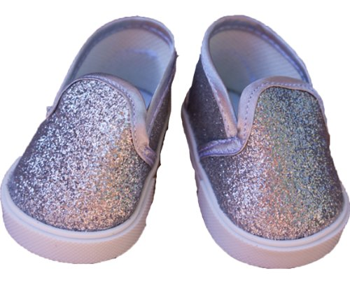 Sparkly Silver Doll Shoes for 18 Inch Dolls