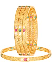 The Jewelbox Filigree Wedding 22K Gold Plated Red Green Bangle Set Of 4 For Girls Women