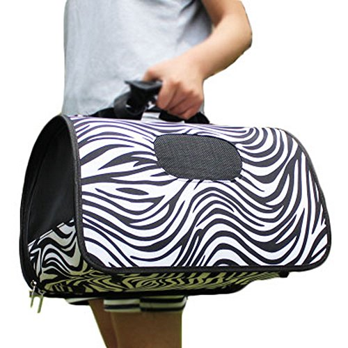 S Size Carry Bag Sweet Cute Pet Home Dog Cat Carrier House Travel—Zebra