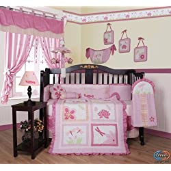 GEENNY Designer Girl DragonFly 13PCS CRIB BEDDING SET