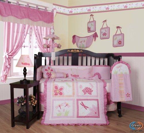 Boutique Brand New GEENNY Designer Girl DragonFly 13PCS CRIB BEDDING SET