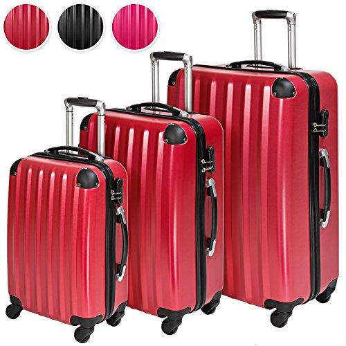 TecTake Policarbonato trolley valigia valigie set rigido borsa - disponibile in diversi colori - (Rosso Vino (No. 401446))