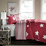 Lush Decor Star 3-Piece Quilt Set, King, Red