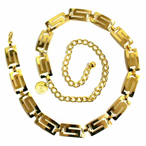 Luxury Divas Classic Greek Key Golden Tone Chain Link Belt