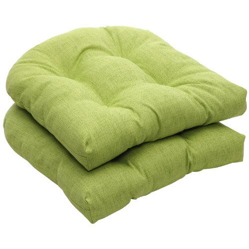 Pillow Perfect Indoor/Outdoor Green Textured Solid Wicker Seat Cushions, 2-Pack image