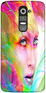 Snoogg Colorful Hair Woman 2769 Designer Protective Back Case Cover For LG G2