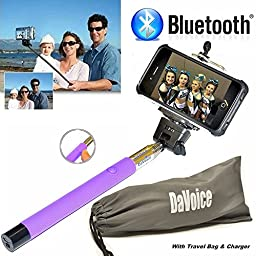 Selfie Stick iPhone 6 Plus - Bluetooth Selfie Stick iPhone 7 6 6s SE 5 5s 5c 4 4s - iPhone Selfie Stick with Remote (Purple) Best Selfie Stick, Monopod Extendable Pole Galaxy S5 S6 S7 - DaVoice