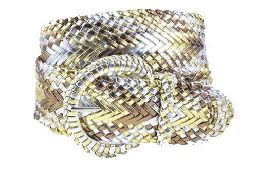 "Ladies Fashion Web Braid Faux Leather Woven Metallic Wide Belt 22 Colors (M (38""), 3 Tone Metallic Silver/Gold/Bronze)"