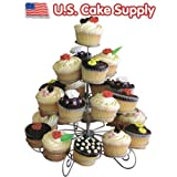 U.S. Cake Supply Brand 23 Count 4 Tier Cupcake Dessert Holder Stand Cake Muffin - Great for Wedding, Birthday Party, Holidays, Etc