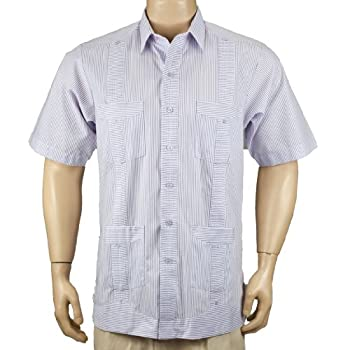 Deluxe Short sleeve white-lavender stripped Guayabera Shirt
