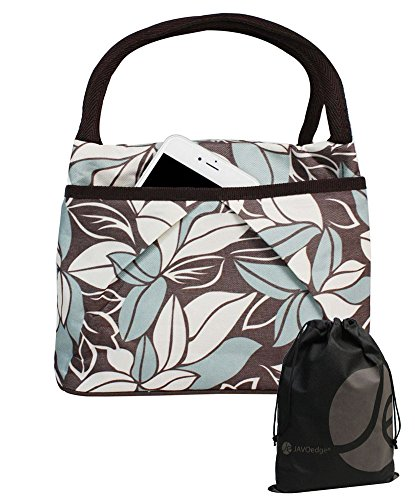 JAVOedge Blue / Brown Double Pocket Leaf Pattern Lunch Bag Tote with Zipper, Pouch and Handle Plus Bonus Drawstring Bag - 1