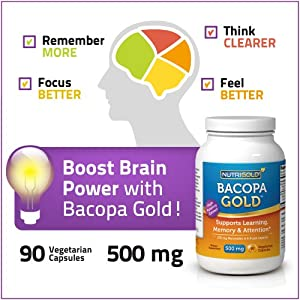 Nutrigold Bacopa Gold (Clinically-proven BacoMind), 500 mg, 90 veg. capsules
