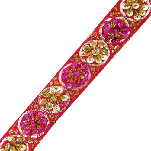 Pink Base Beaded Trim Sequin Decorative Women Border Lace Sewing Craft 3 Yd