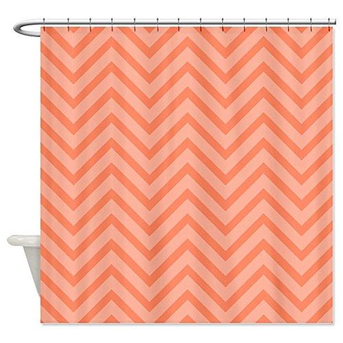 Curtains Ideas coral chevron shower curtain : CafePress Coral Aqua Grey White Chevron Shower Curtain - Standard ...