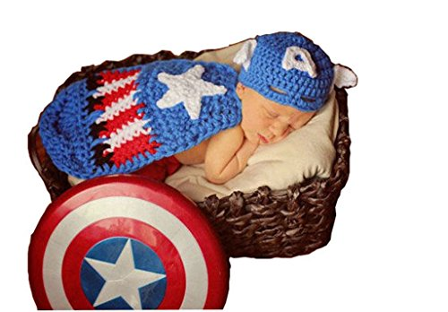 Cx-queen® Baby Photography Prop Costume Crochet Knitted Captain America Outfit