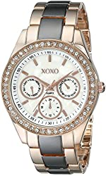 XOXO Women's XO5452 Rose Gold and Gunmetal Clear Rhinestones Bezel Bracelet Watch